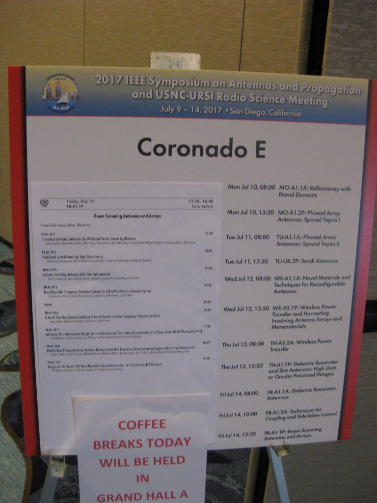 IEEE APS San Diego Coronado E Schedule