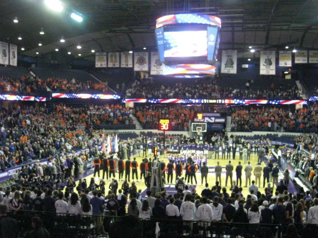 Northwestern Illinois basketball national anthem