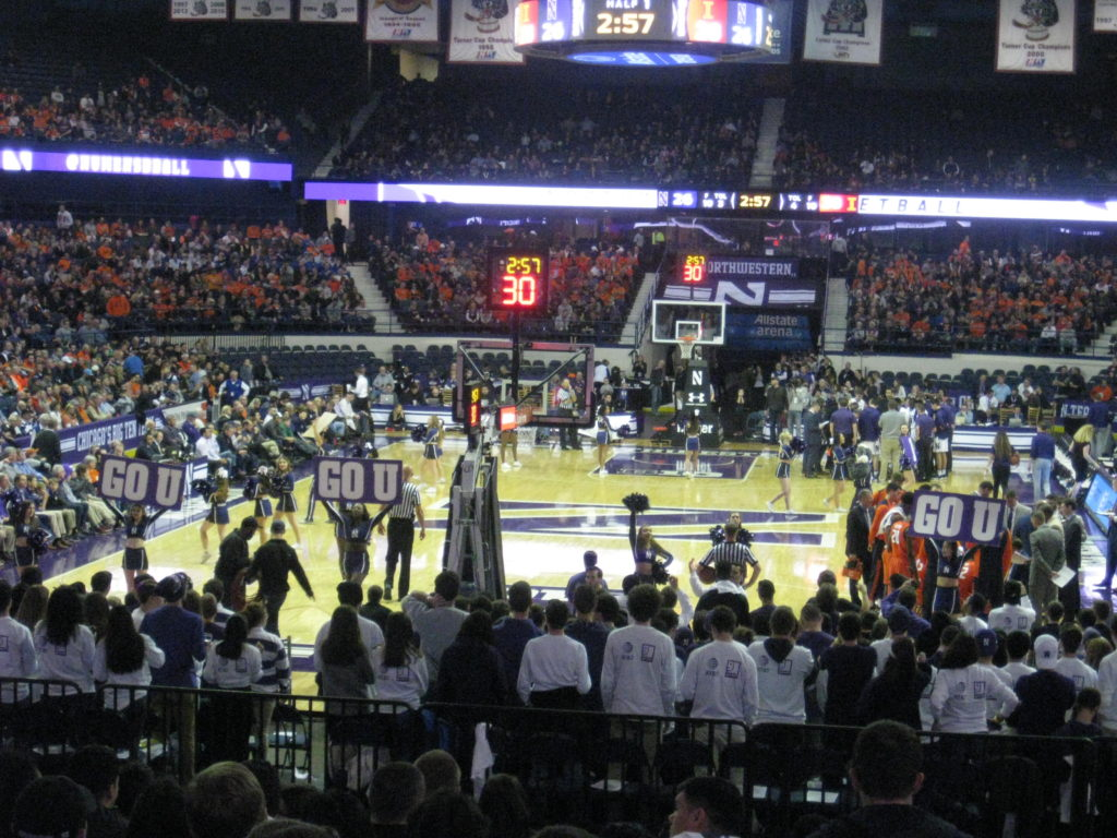 Northwestern Illinois basketball go u cheer