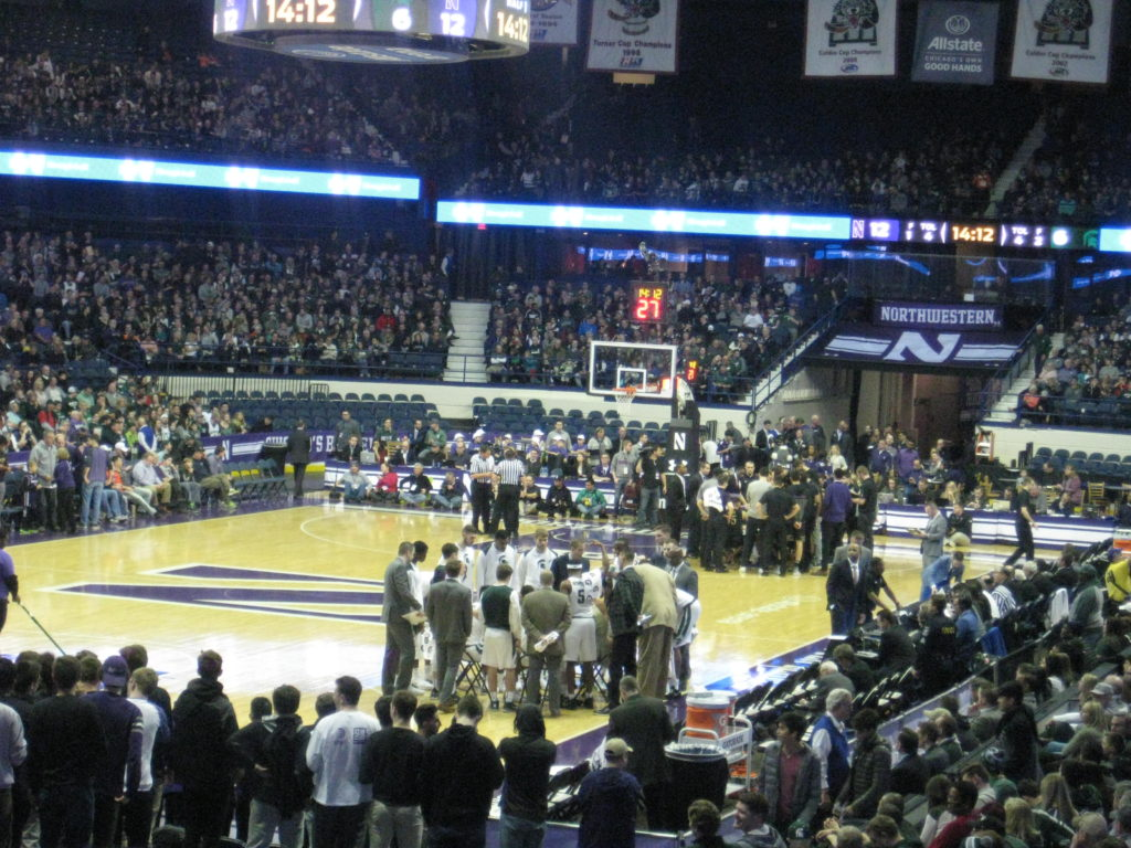 Northwestern Michigan State huddle