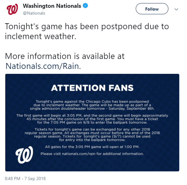 washington nationals cubs postponed game weather - Postponed Chicago Cubs vs. Washington Nationals at Nationals Park Game