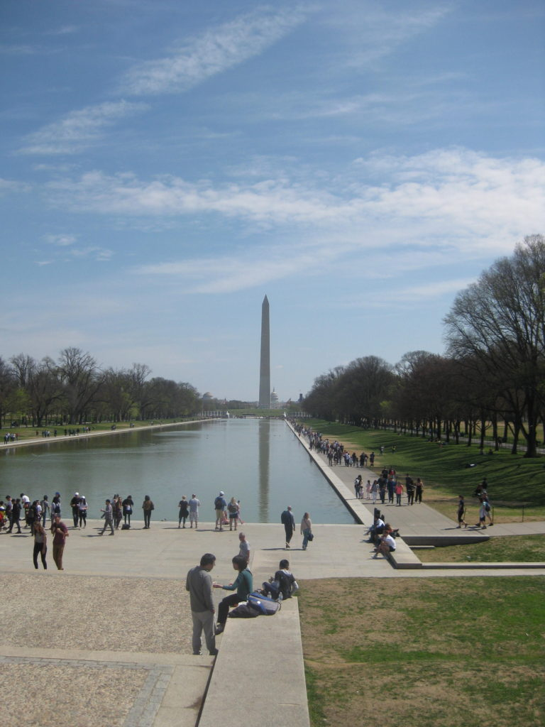 reflecting pool national mall washington dc e1554677748947 768x1024 - Washington D.C., Cherry Blossoms, and National Museum of African Art April 2019