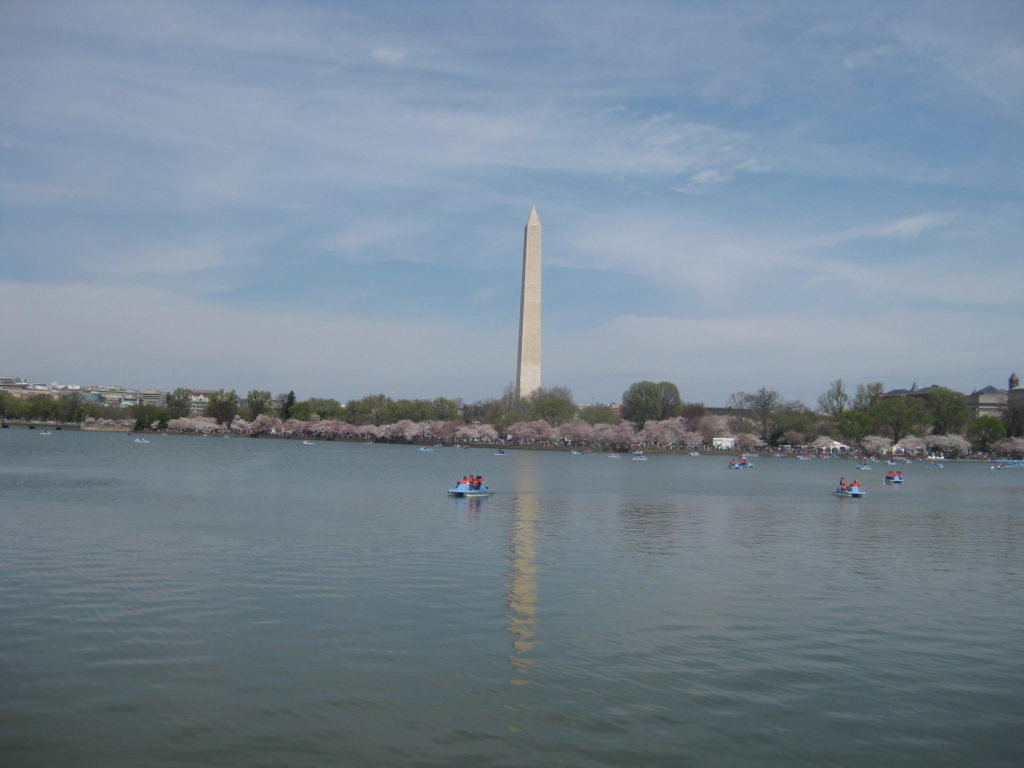 washington monument tidal basin cherry blossom paddle boat 1024x768 - Washington D.C., Cherry Blossoms, and National Museum of African Art April 2019