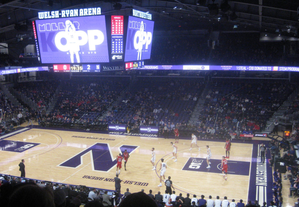 nebraska dribbling college basketball evanston illinois 1024x711 - Nebraska vs Northwestern Basketball at Welsh-Ryan Arena 2020