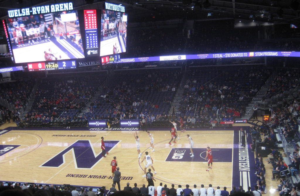 nebraska possesion welsh ryan arena 1024x670 - Nebraska vs Northwestern Basketball at Welsh-Ryan Arena 2020