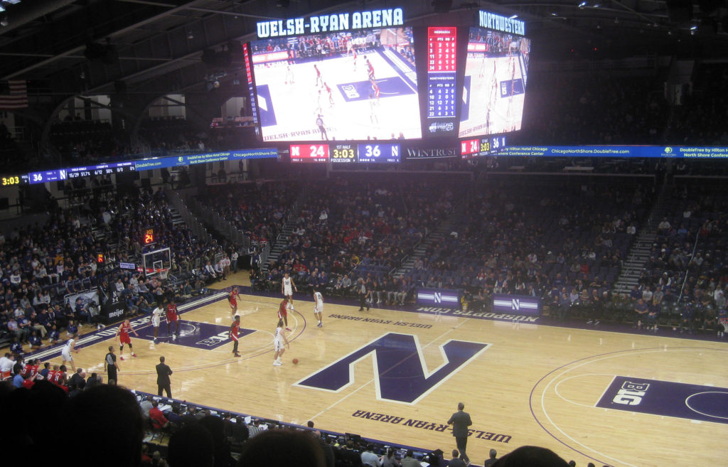 northwestern dribling basketball welsh ryan arena 1024x657 - Nebraska vs Northwestern Basketball at Welsh-Ryan Arena 2020