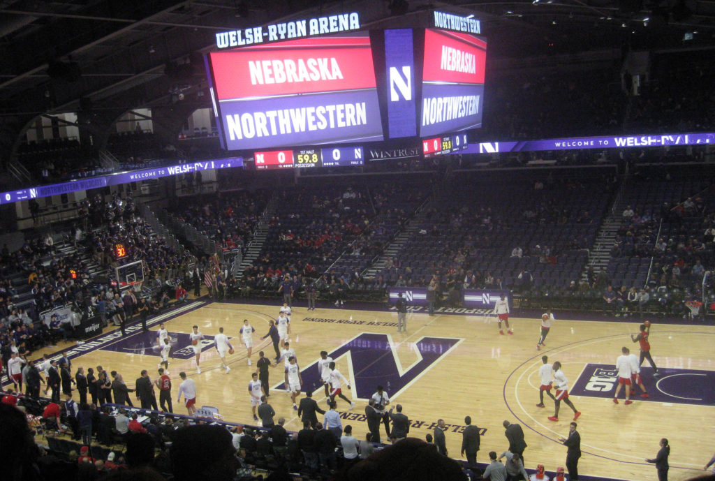northwestern nebraska basketball warmups 1024x689 - Nebraska vs Northwestern Basketball at Welsh-Ryan Arena 2020
