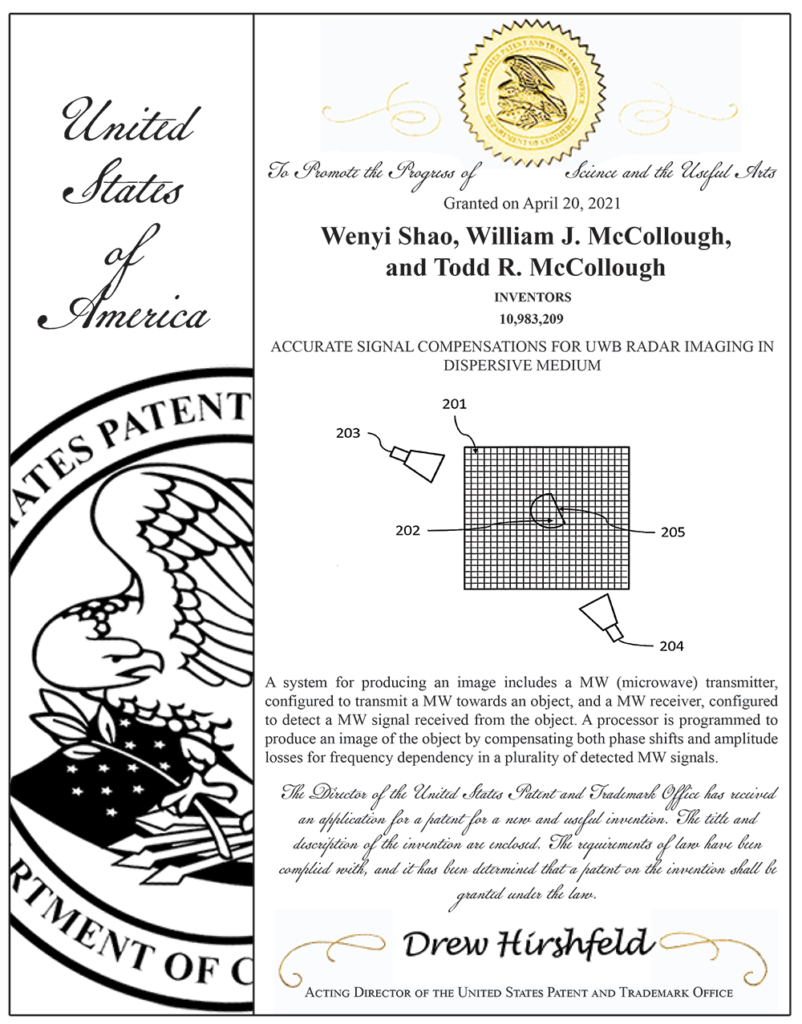 Accurate Signal Compensations UWB Radar Imaging Patent 802x1024 - Accurate Signal Compensations for UWB Radar Imaging in Dispersive Medium Patent named co-inventor on Issued